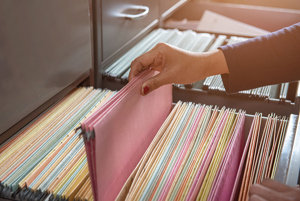 Important documents in files placed in the filing cabinet